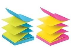 Pack 8 Blocs notas zig-zag Post-it Z-notes R-330-N 76x76mm color neon con Dispensador gratis