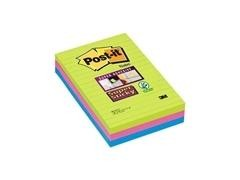 Pack 3 blosc 102x142mm Notas Post-it  Super Sticky Ultra con Líneas. Colores surtidos. 90 hojas/bloc