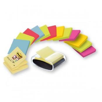 Pack Ahorro 14 blocs Z-notes Post-it  SuperSticky colores surtidos m s un dispensador PRO color negr