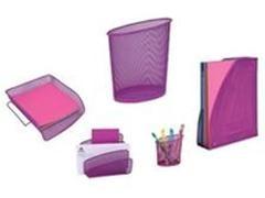 ALBA Set 5 piezas rejilla portacartas/bandeja/cubilete/revistero/papelera FUCSIA