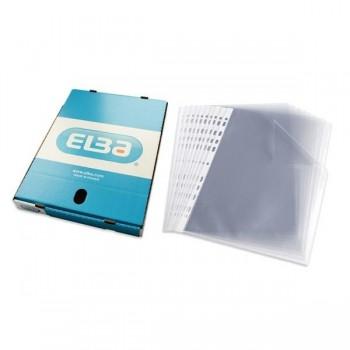 ELBA Caja 100 Fundas Portadocumentos multitaladro pp folio estandar granulado