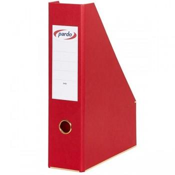 Revistero cartón forrado pardo con tapa tarjeta en lomo 335x255x80mm rojo