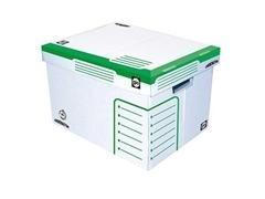 Pack 2 Contenedor archivo cartón ondulado ordenator fondo auto 260X350X260mm blanco/verde