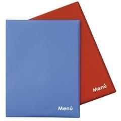 Portamenús colores pvc 2 fundas folio azul