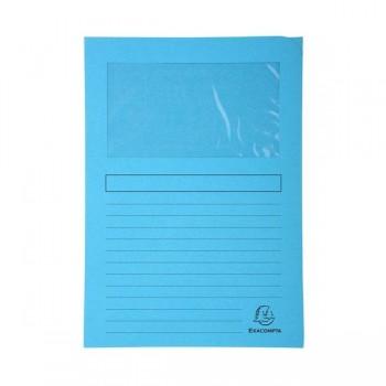 Pack 25 subcarpetas con ventana Exacompta 120gr 22x31cm color azul claro