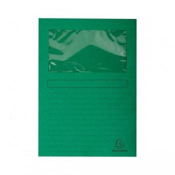 Pack 25 subcarpetas con ventana Exacompta 120gr 22x31cm color verde claro