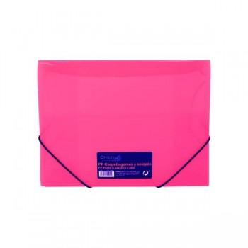Carpeta gomas y solapas Frame tamaño A4 color rosa