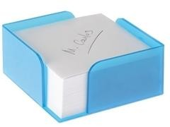 Portanotas con taco 10X10cm azul mar traslúcido