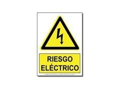 "F7I Cartel adhesivo \""RIESGO ELECTRICO\"" 10x10"