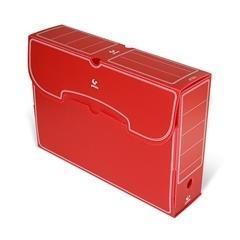 Caja archivo definitivo plástico folio rojo