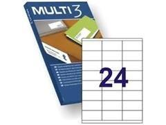 MULTI3 Etiqueta i/l/c adh.permanent.A4 c-100hoj 70x35 mm 2400unds