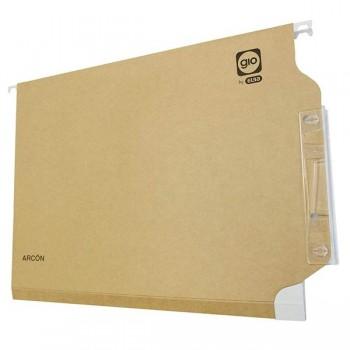 Gio Paq.25 carpetas colgantes visor lateral lomo V A4 Kraft bicolor