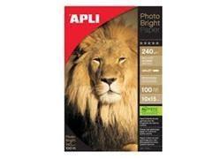 APLI Pack 100h papel fotografico photo bright PRO 240gr 10X15cm brillante