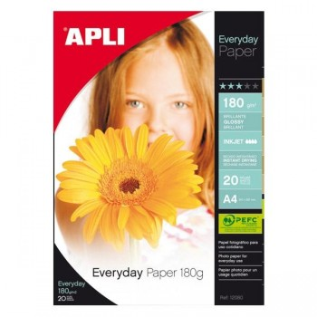 Pack 20h papel fotografico everyday 180gr A4 glossy