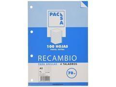 PACSA Recambio cartapacio folio 80hojas multitaladros c-4mm