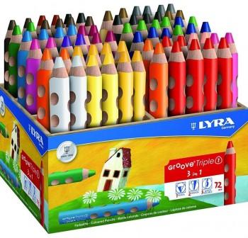 LYRA GROOVE TRIPLE-ONE Lapices acuarelables,colores y cera surtido schoolpack caja 72 unidades