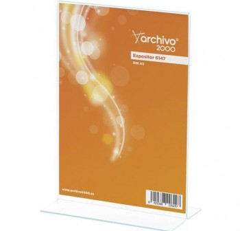 "ARCHIVO2000 Expositor de sobremesa metacrilato en \""T \"" 2 caras A5 6147"