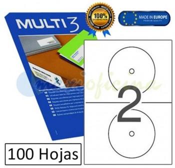 MULTI3 Etiqueta i/l/c CD-DVD dors.opac.A4 c-100 d/114mm