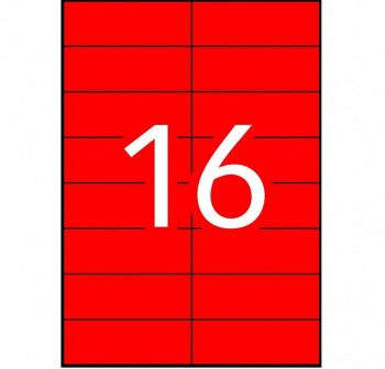 APLI Etiqueta i/l/c perm.c/rect.A4 100h.colore 105x37mm  ROJO 1600etiquetas