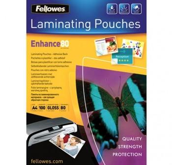 FELLOWES Lamina plastificar adhesiva 216x303 (A4) 80micras