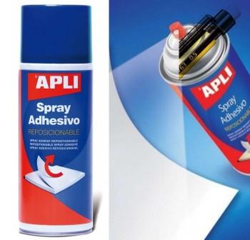 APLI Pegamento en spray  400ml. adhesivo reposicionable por tiempo limitado (azul)