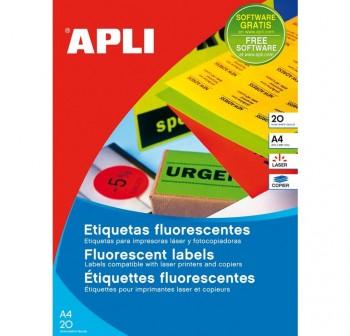 APLI Etiqueta i/l/c permanente 64x33,9cm c/romos 20h. fluor DIN-A4