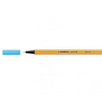 Rotulador punta fieltro fina Stabilo point 88 trazo 0,4mm azul celeste
