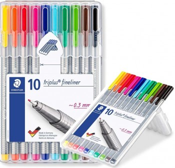 Pack 10 Rotuladores punta fieltro fina triplus fineliner trazo 0,3Mm colores surtidos