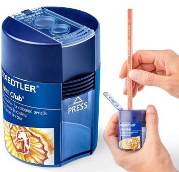 Sacapuntas plástico con deposito noris club doble uso 8,2mm ancho hasta 10,2mm transparente