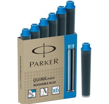 Caja 6 Cartuchos mini Tinta Parker quink azul real