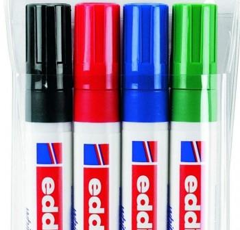 Estuche con 4 marcadores para pizarras blancas Edding 660, rellenable, grosor de trazo 1,5-3 mm colo
