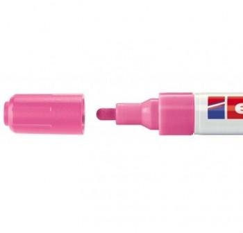 Marcador Edding 4095 de tiza liquida para pizarras y vidrio, con punta redonda trazo 2-3 mm rosa neó