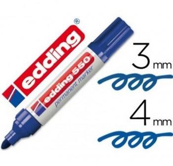 Marcador permanente punta c nica Edding 550 trazo 3 a 4mm azul