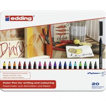 edding Estuche metálico 20 rotuladores edding 1300 trazo 2 mm colores surtidos.