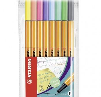 Stabilo Estuche plástico 8 uds. Point 88 colores pastel