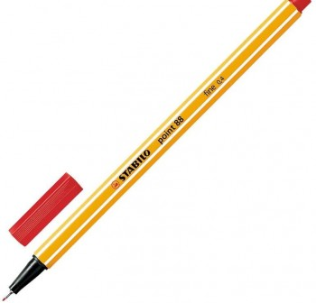 Rotulador punta fieltro fina Stabilo point 88 trazo 0,4mm rojo