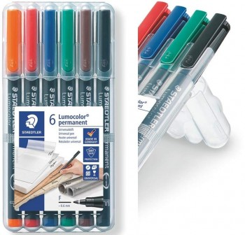 STAEDTLER Rotulador lumocolor S 313 WP6 permant. 6 color