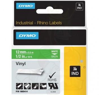 DYMO Cinta rhino 12x5,5mm vinilo Fondo VERDE/Impresion BLANCO