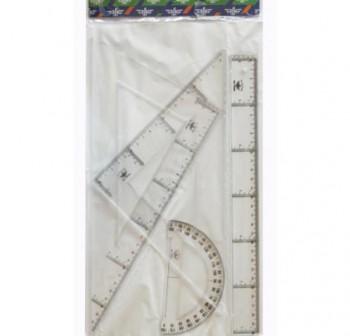 DFH Juego de reglas esc.+ cart + reglas + semicirculo en estuche de 25cm