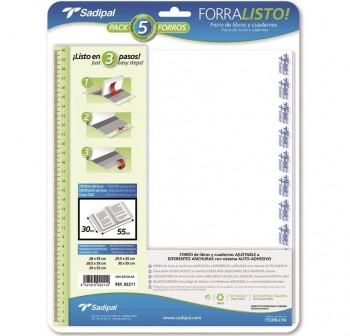 Blister 5 Fundas polipropileno con sistema de ajuste Adhesivo 80 micras 28cm transparente