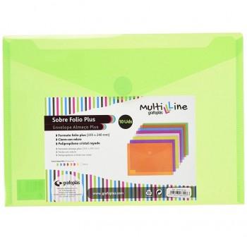 GRAFOPLAS Pack de 5 sobres pp multiline velcro tarjeta 105x62 VERDE
