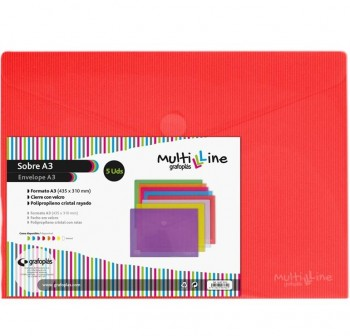 GRAFOPLAS Pack de 5 sobres pp multiline velcro tarjeta 105x62 ROJO