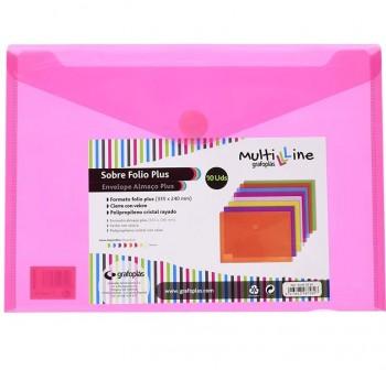 GRAFOPLAS Pack de 5 sobres pp multiline velcro tarjeta 105x62 ROSA