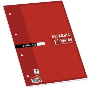 ENRI Recambio cartapacio folio 100hojas 4 taladros c-4mm