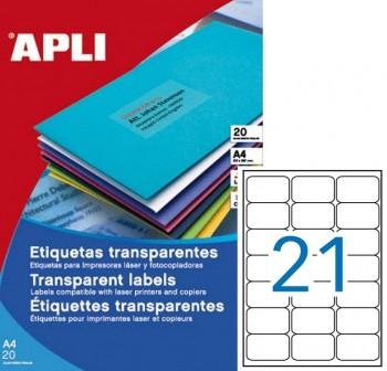 APLI Etiquetas poliester 63,5x38,1mm trasnparente (420Etiq) 20hojas