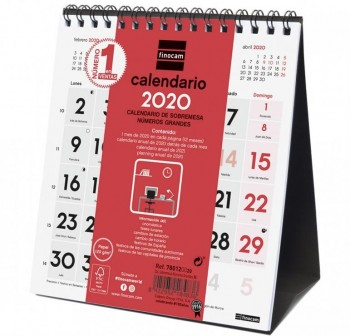 FINOCAM Calendario sobremesa XS numeros grandes 2020