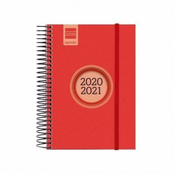 FINOCAM Agenda espiral E8 LABEL 1 dia pagina 2020-2021 ESCOLAR INSTITUTE ROJO