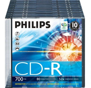 PHILIPS CD-R 52x 700MB pack-10 slim 80 minutos