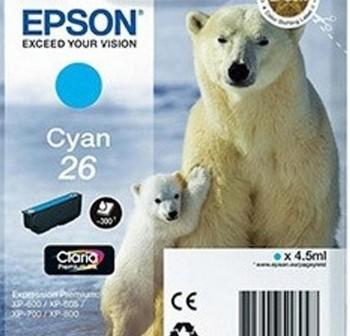 EPSON Cartucho inkjet T2612 original CYAN 300p Nº26 (oso polar)