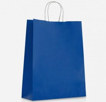 FIXO Bolsa regalo papel kraft 24X31X11 con asa rizada AZUL